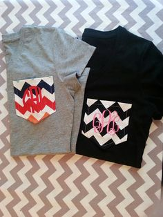 Handmade short sleeve chevron pocket tees in all colors EXCEPT white with monogrammed initials. These are adult tees but can be done for a Chevron Pocket Tees, Monogram Pocket Tees, Tee Design, Cute Shirts, Cute Fashion, What To Wear, Long Sleeve Shirts, Vintage Outfits, Cute Outfits