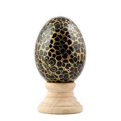 Golden Circles Wooden Easter Egg