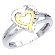 Share for $20 off your purchase of $100 or more! 0.05 Carat (ctw) 925 Sterling Silver Round Cut Diamond Ladies Split Shank Double Heart Promise Ring - Dazzling Rock #https://www.pinterest.com/dazzlingrock/