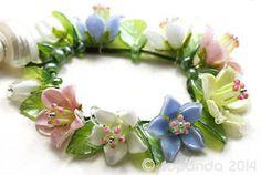 JOPANDA lampwork Beads handmade SRA - Pure Pastell Bellflowers & Glamour
