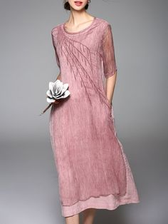 Pink Vintage Plain Crew Neck Embroidered Midi Dress