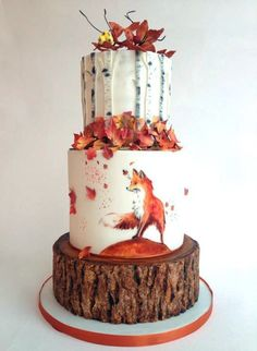 Autumn cake + tiered + red fox + leaves + birch + forest + woodland * likes the three different stunning Autumn wedding cakes (and 3 you can make yourself!A breathtaking, elegantly beautiful autumn (wedding) cake.Autumn by tomima (Baking Cookies Gorgeous Cakes, Pretty Cakes, Cute Cakes, Amazing Cakes, It's Amazing, Awesome, Crazy Cakes, Autumn Wedding Cakes, Autumn Cake