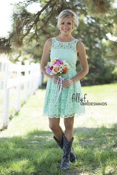 Summer Style Mint Green Bohemian Bridesmaid Dresses 2015 A-line Scoop Neck Short Lace Wedding Guest Gowns Prom Dress Custom