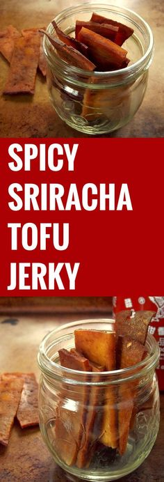 This savory and extra spicy tofu jerky is made with oven dried tofu strips flavored with smoky seasonings and fiery sriracha sauce! Vegan Foods, Vegan Snacks, Healthy Snacks, Tofu Dishes, Vegan Dishes, Whole Food Recipes, Snack Recipes, Cooking Recipes, Vegan Jerky