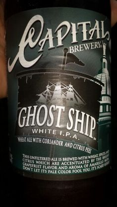 Capital Brewing co. Ghost Ship White IPA 5.6% acl.  Definitely taste the Citrus.   Smooth not as bitter.