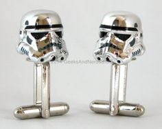 Wedding Cufflinks for Groomsmen Gifts: these rare Star Wars Chrome Stormtrooper Cuff-links will have your geeky guy or groomsmen giddy with glee!