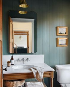 """Artfully Walls on Instagram: """"Our new favorite bathroom color combo is green & gold!  Art: July Green by Pamela Munger and The Moment Is Now by Faith Taylor Design by…"""" Shiplap Bathroom, Bathroom Renos, Bathroom Interior, Master Bathroom, Downstairs Bathroom, Terra Cotta, Sweet Home, Up House, Bathroom Inspiration"""