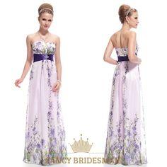 Lilac Floral Print Chiffon Prom Dress,Floral Print Maxi Dress Plus Size | Fancy Bridesmaid Dresses