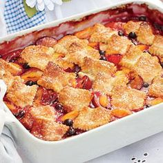 Topped with squares of sugar-crusted pastry, this cobbler shows off summer fruits in a rich, just-sweet-enough filling.