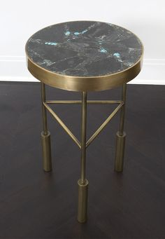 KELLY WEARSTLER | SEDONA SIDE TABLE. Burnished brass frame with inlaid table top made from turquoise and pyrite