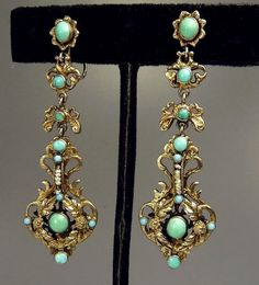 Antique Austro Hungarian Earrings Gilt Silver & by jujubee1