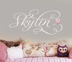 Personalized GIrls Name with little baby owl Vinyl Wall Lettering Decal LARGE Cute Baby Names, Unique Baby Names, Baby Girl Names, Kid Names, Star Nursery, Nursery Room, Baby Room, Nursery Decor, Bedroom