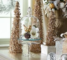 3 piece glass cloche dome with mirror insert and footed base christmas table decorationsdecorating