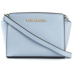 Michael Michael Kors Selma Crossbody Bag (650 ILS) ❤ liked on Polyvore featuring bags, handbags, shoulder bags, blue, blue crossbody, blue shoulder bag, blue cross body purse, blue handbags e michael michael kors handbags
