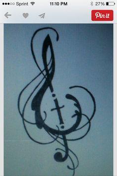 Religious music tattoo design.