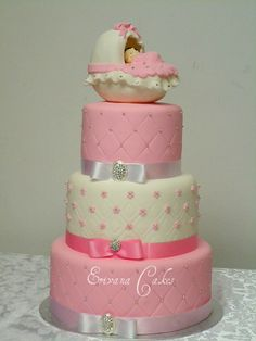 Elegant, cute baby shower cake! Like the pink layer with silver bballs