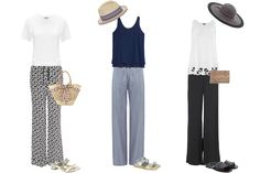 how to wear wide leg trousers, holiday capsule wardrobe