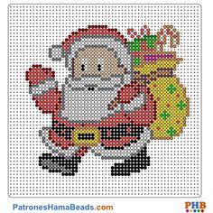 Papá Noel plantilla hama bead. Descarga una amplia gama de patrones en formato PDF en www.patroneshamabeads.com