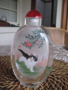 LOVELY VINTAGE ART GLASS PERFUME ASIAN BOTTLE