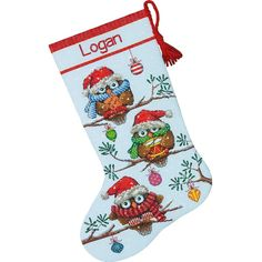 """Holiday Hooties Stocking Counted Cross Stitch Kit-16"""" Long 14 Count"""