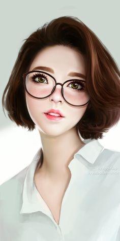 Girl Iphone Wallpaper, Cute Girl Wallpaper, Iphone Wallpapers, Phone Backgrounds, Art Anime Fille, Anime Art Girl, Girl Cartoon, Cartoon Art, Short Hair Glasses