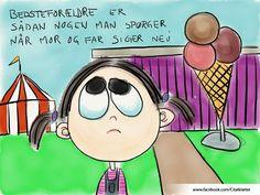 """""""Bedsteforældre er sådan nogen man spørger når mor og far siger nej.""""-Johan Stangerup Maleri lavet på iPad, printet på lærred og monteret på blindramme. Bille"""