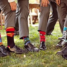 The guys jazzed up their gray suits with superhero socks--a gift from the groom.