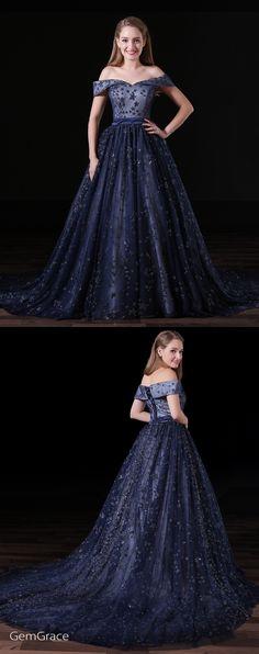 Off shoulder long tulle prom dress in navy blue