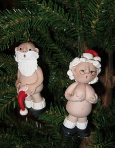 Mr & Mrs Naughty Santa Claus Polymer Clay Christmas by Dee22450, $20.00