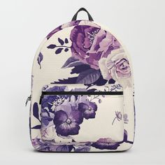 Purple floral boho pattern Backpack (6740 RSD) ❤ liked on Polyvore featuring bags, backpacks, flower print backpack, floral rucksack, patterned backpacks, boho bags and day pack backpack