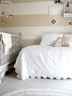 daybed as an alternitive to a toddler bed for a shared room... love the organic feel of natural colors