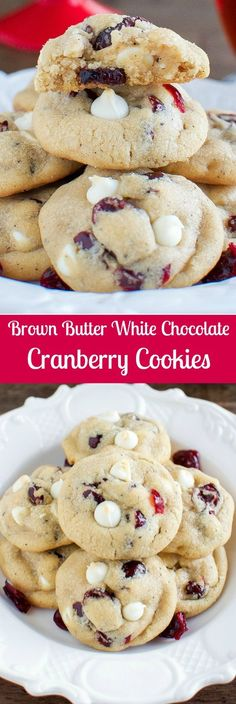 Brown Butter White Chocolate Cranberry Cookies - Easy Christmas Cookie Recipe! #FolgersFans