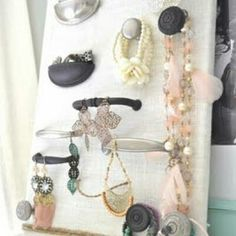 Repurposed drawer pull jewelry caddy