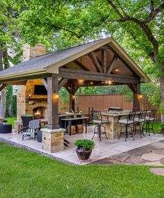 The patio of a house can be settings for many unique things. Whether you have a tiny space or a larger one, you want your outdoor space to be comfortable and nice. Your patio supplies the foundation for your outdoor living space. Backyard Kitchen, Outdoor Kitchen Design, Outdoor Kitchen Bars, Summer Kitchen, Covered Outdoor Kitchens, Rustic Outdoor Kitchens, Outdoor Bars, Backyard Patio Designs, Back Yard Patio Ideas