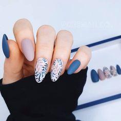Blue Nail Designs, Acrylic Nail Designs, Oval Nails, Pink Nails, Matte Nails, Blue Nails Art, Acrylic Nails, Pretty Nail Art, Nails Inc