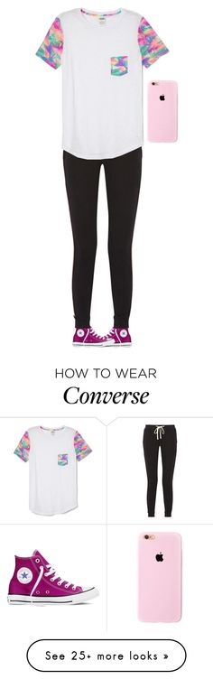 """Hi."" by meljordrum on Polyvore featuring moda, Converse, James Perse e Victoria's Secret PINK"