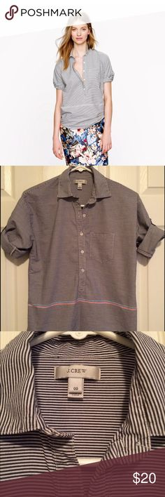 J crew boyfriend striped popover tunic size 00 J CREW BOYFRIEND POPOVER TOP  Size 00  100% cotton - navy blue - popover tunic style - 3/4 sleeves/tab sleeve - chest pocket - placement stripe  Excellent pre-owned condition with no stains, tears or odors Posted with eBay Mobile J. Crew Tops Tunics