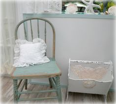 My sunroom decor - I bought both of these items from the Sally Ann and made them shabby chic with some paint and roughing up