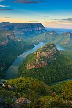 "Blyde River Canyon, Mpumalanga, South Africa - ""the green canyon"" A view from the three rondavels viewpoint at lower Blyde River Canyon around sunset by Leon Jacob, via Beautiful Places To Visit, Beautiful World, Places To Travel, Places To See, Belleza Natural, Africa Travel, Beautiful Landscapes, Land Scape, Kenya"