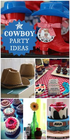 A fun Cowboy birthday party with a great cake, decorations and cowboy hats for all the guests!  See more party ideas at CatchMyParty.com!