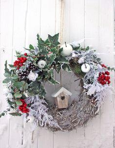 Купить Интерьерный венок Северный - белый, зеленый, интерьерный венок, венок на дверь, украшение дома