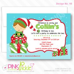 Personalized Birthday Party Invitation OR Thank You Card .Printable / Digital / You Print / DIY / jpg or pdf Personalised Party Invitations, Personalized Thank You Cards, Boy Birthday Invitations, Christmas Party Invitations, Photo Invitations, Digital Invitations, Invitation Ideas, Christmas Birthday Party, Birthday Parties