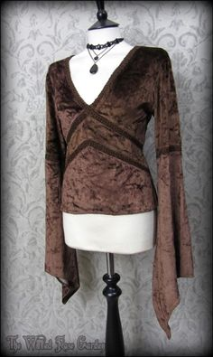 Witchy Gothic Brown Crushed Velvet Angel Sleeve Top M L 12 14 Medieval Romantic | THE WILTED ROSE GARDEN