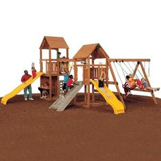 PlayStar Super Star Silver Expandable Residential Wood Playset - monkeybars, two slides, playhouse Super Star, Lowes Home Improvements, Play Houses, Patio, Building, Kid Stuff, Silver, Dads, Canada