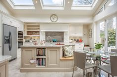 Neutral colours and sky lights accentuate the natural light. Country Kitchen Diner, Family Kitchen, Shabby Chic Kitchen, Vintage Kitchen, Minimalist Kitchen Cabinets, Open Plan Kitchen, Kitchen Ideas, Bright Kitchens, Shaker Kitchen