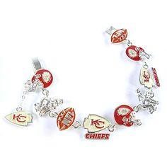 NFL Football Kansas City Chiefs Silver Charm Bracelet