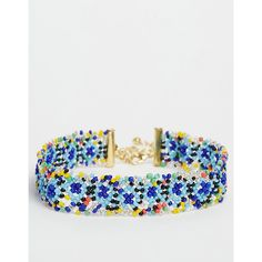 ASOS Carnival Beaded Choker Necklace (290 MXN) ❤ liked on Polyvore featuring jewelry, necklaces, multi, glass bead necklaces, multi color beaded necklace, multicolor bead necklace, colorful bead necklace and chain necklaces