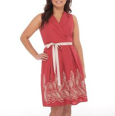 Faux Wrap Dress with Belt, red with white