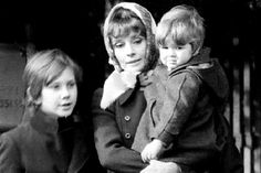 Rare Audrey Hepburn - Audrey Hepburn Dotti photographed in Rome (Italy), with her sons Sean and Luca by a paparazzi, in December 1972.