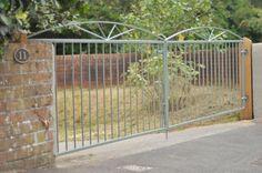 Metal entrance gates custom painted to the customers spec Metal Gates, Metal Railings, Wrought Iron Gates, Side Gates, Driveway Gate, Entrance Gates, Gate Design, Garden Gates, Custom Paint